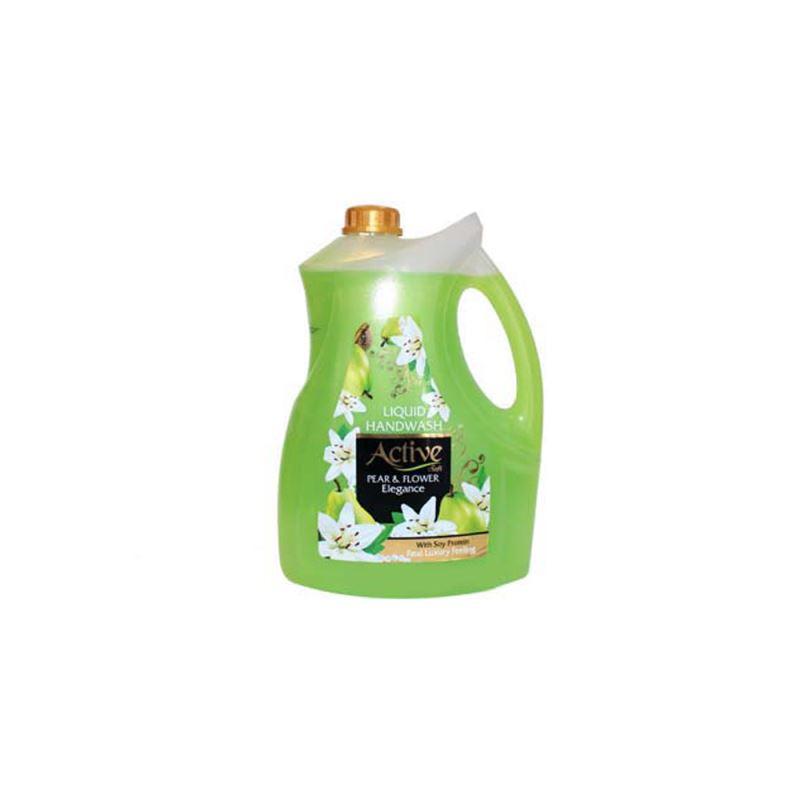 مایع دستشویی صدفی  اکتیو 3750 گرمی با رایحه گل و گلابی