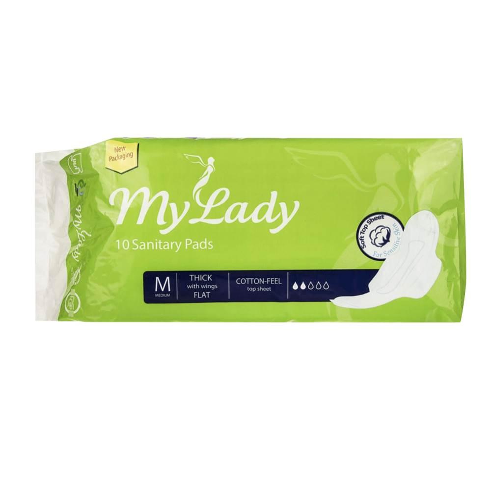نوار بهداشتی مای لیدی مدل Cotton Feel Medium بسته 10 عددی