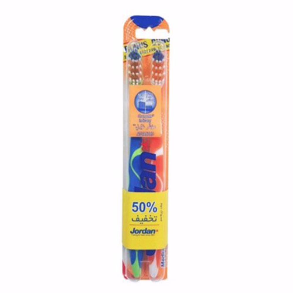 پک مسواک 2 تایی جردن مدل ChangeMe Indicator Advanced Medium Toothbrush