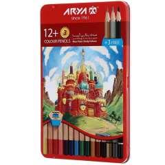 مداد رنگی 12 رنگ آریا مدل 3021 طرح قلعه