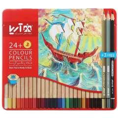 مداد رنگی 24 رنگ آریا 3022 طرح کشتی