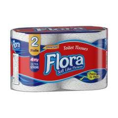 دستمال توالت دو قلو ۴ لایه فلورا