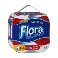 دستمال توالت 4 قلو ۴ لایه فلورا