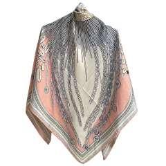 روسری ابریشم ژاکارد دور دست دوز طرح لویی ویتون